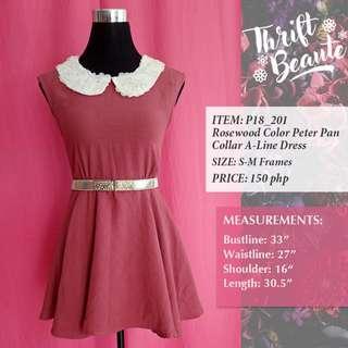 Rosewood Color Peter Pan Collar A-Line Dress