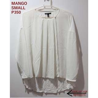 Mango White Longsleeves Top with Open Front
