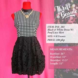 Black & White Dress With pouf Lace Skirt