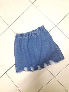 Frayed high waist denim skirt