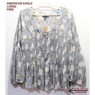 American Eagle Blue Floral Smocked Longsleeves Top