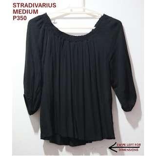 Stradivarius Black Off-shoulder Longsleeves Top
