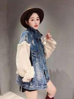 韓國 針織 毛袖牛仔