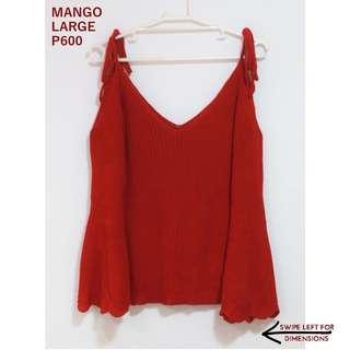 Mango Ribbed Red Cold Shoulder with Trumpet Sleeves