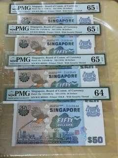 Singapore bird $50 sn B/31 003344 to 003347, 4 consecutive runs ,PMG graded 64,65EPQ,65EPQ &65EPQ