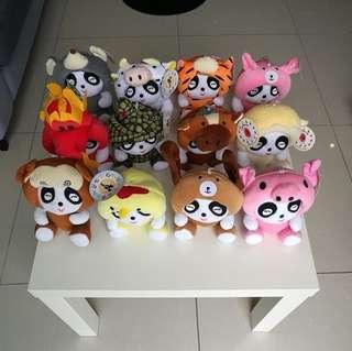Panda Plush Stuffed Toy with 12 Chinese Zodiac Costume