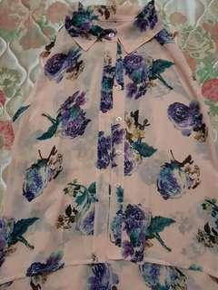 Floral chiffon top - S