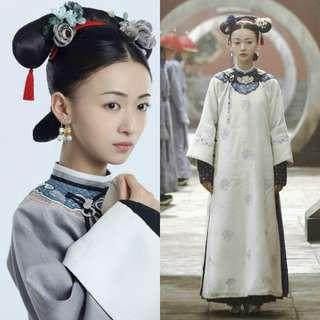 Chinese Costume Dress Story of Yanxi Palace 延禧攻略魏璎珞令妃 china period drama palace maid dress women costume white dress handmade embroidery cosplay dressup