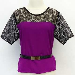Crop brukat-black purple.