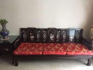 Rosewood Sofa Set vintage antique mother of pearl inlay 花梨木
