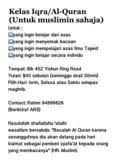 Kelas Iqra & Al-Quran Mengaji untuk Muslimin