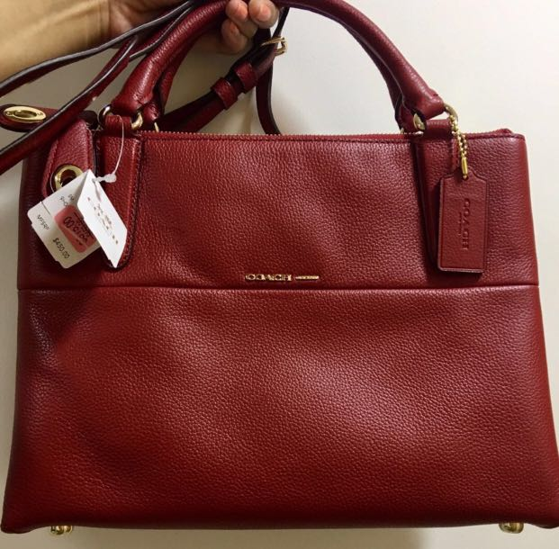 c8b1b51bec455 ... netherlands authentic new coach small turnlock borough bag in pebbled  leather 33732 red currant luxury bags