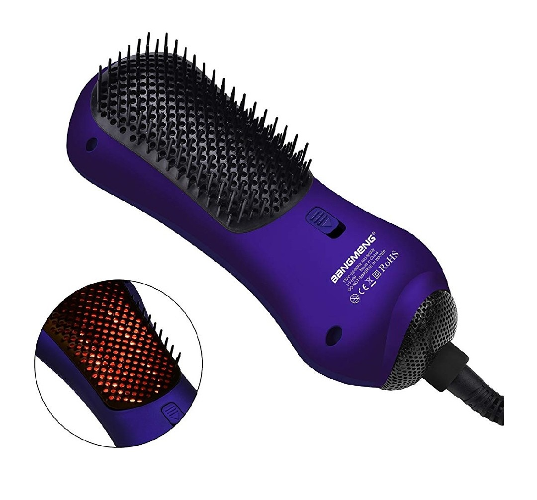 bangmeng mini one step blow dryer & styler hot air paddle brush with  infrared | negative ion generator hair straightener for all hair types |