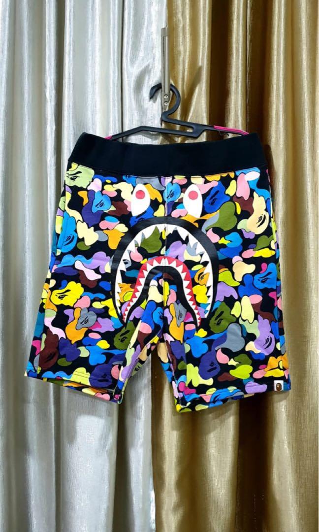 b32ced88f306 BAPE Shark Multicoloured Camo Shorts