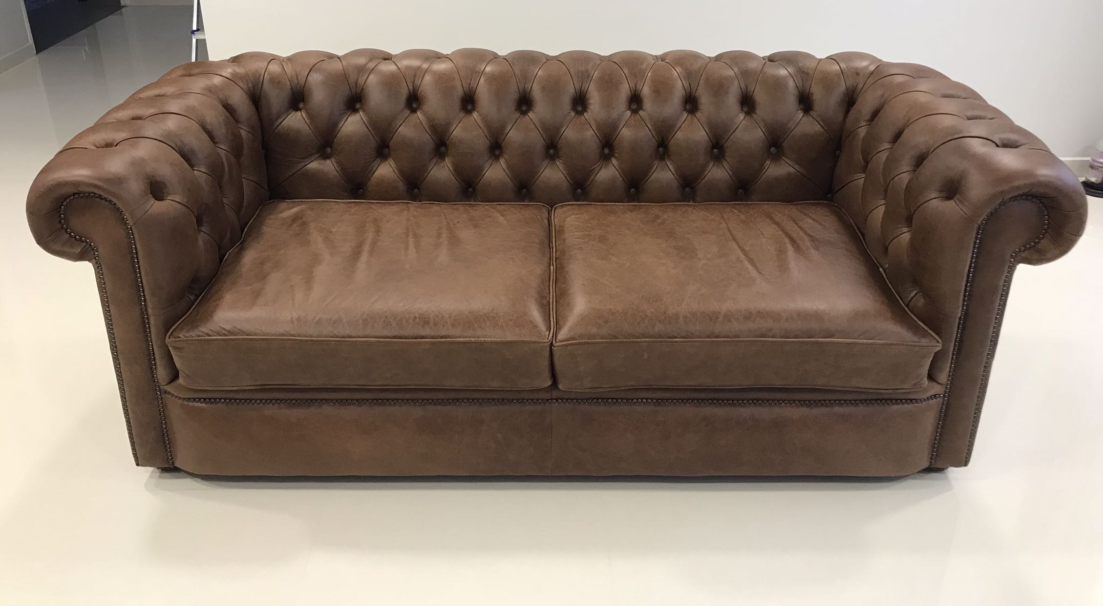 Vintage Leather Chesterfield Sofas Set Of 2