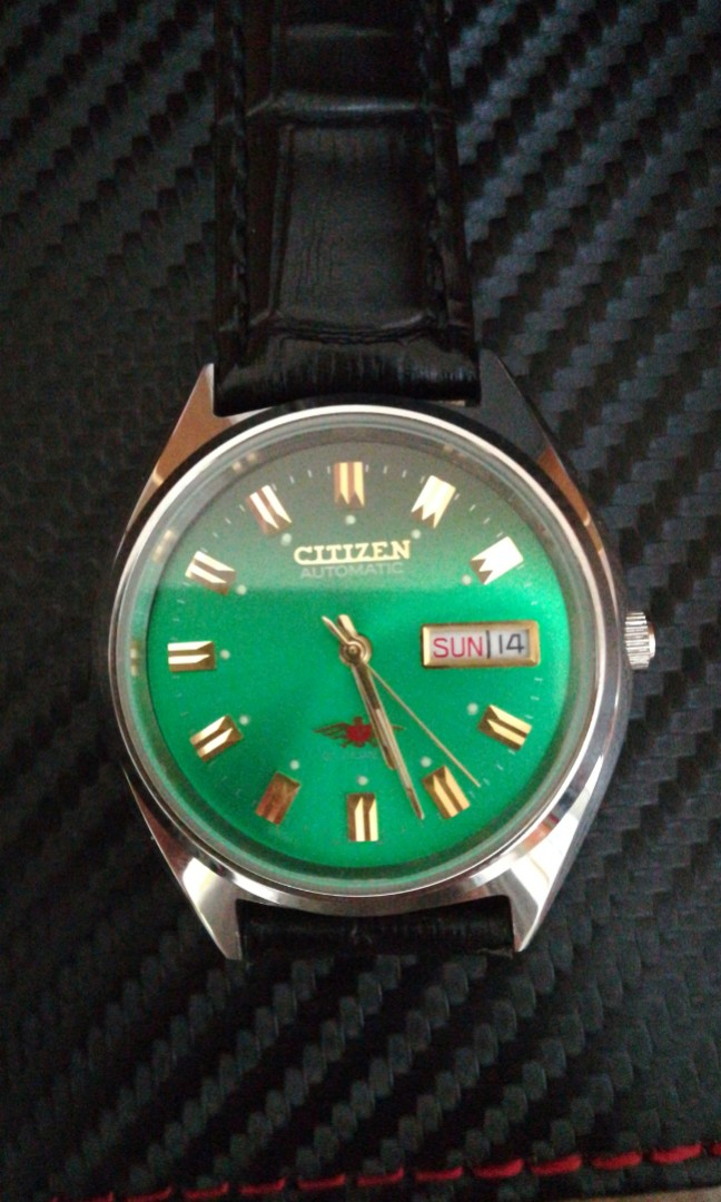 Citizen Miyota 8200 Vintage Automatic Green Dial 35mm Watch Working Perfectly