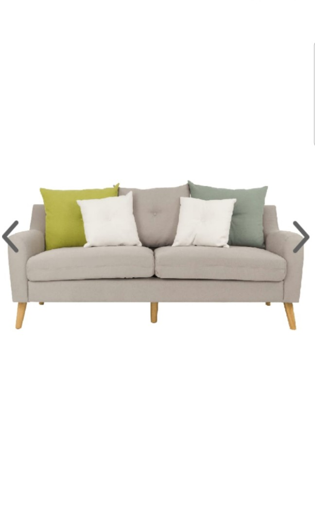 Evan 3 Seater Sofa With Cushions Sand Furniture Sofas On Carousell