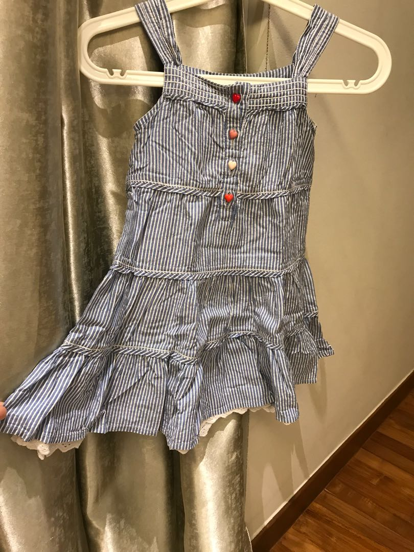 132521b129b Girl s chambray blue and white striped summer dress