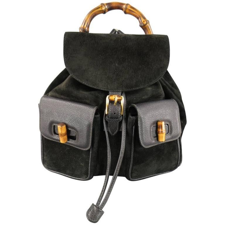 1d1b35c5b4c Gucci vintage suede bamboo backpack