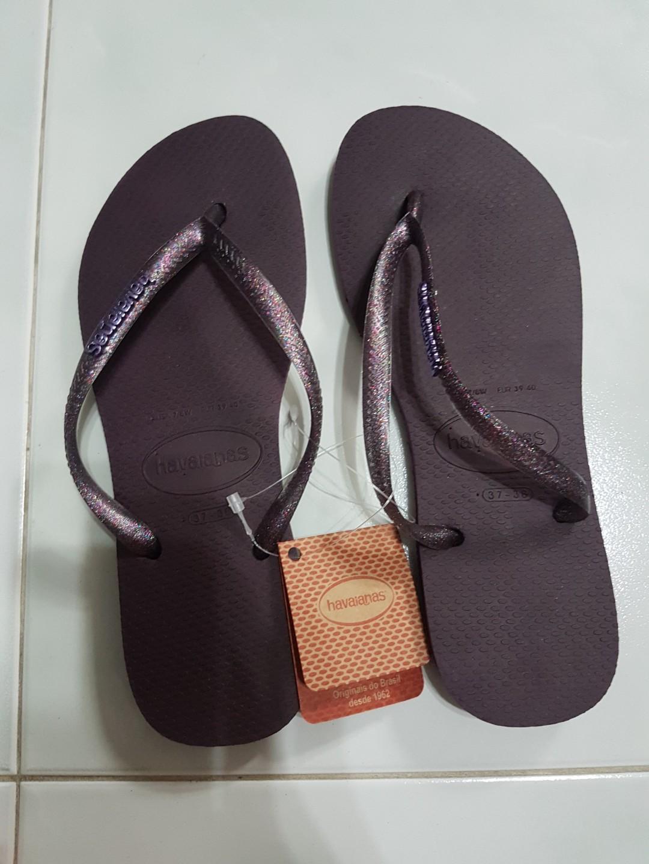 34a54e8d4d1c23 havaianas slim purple aubergine glitter sparkle rubber flip flops ...