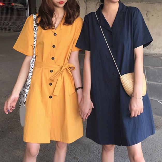 6461dde330 Japanese shirt dress button down v-neck Long dress Midi maxi slim ...