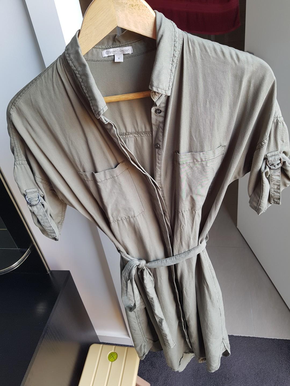 Khaki green long shirt dress
