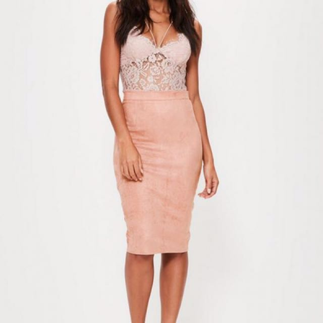 0ad560250 Missguided faux suede pink midi skirt, Women's Fashion, Clothes ...