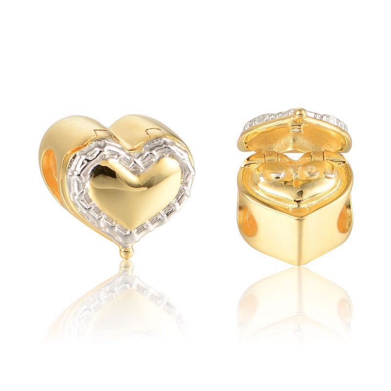dc95fad3f96e4 (OUT OF STOCK) Code S147 - I Love You In The Heart Box 14K Gold Plated 100%  925 Sterling Silver Charm compatible with Pandora