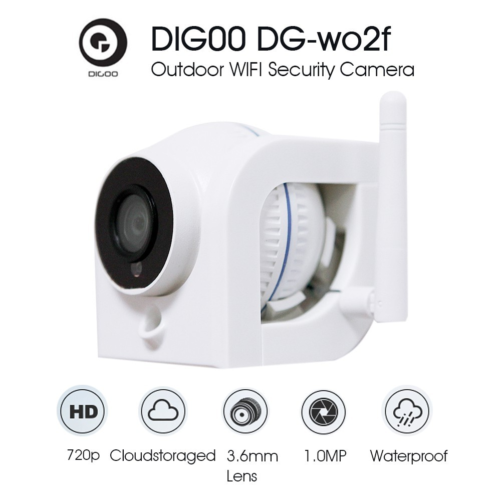 Digoo DG-W02f 720P Cloud Storage Waterproof WiFi Security IP Camera Night  Vision