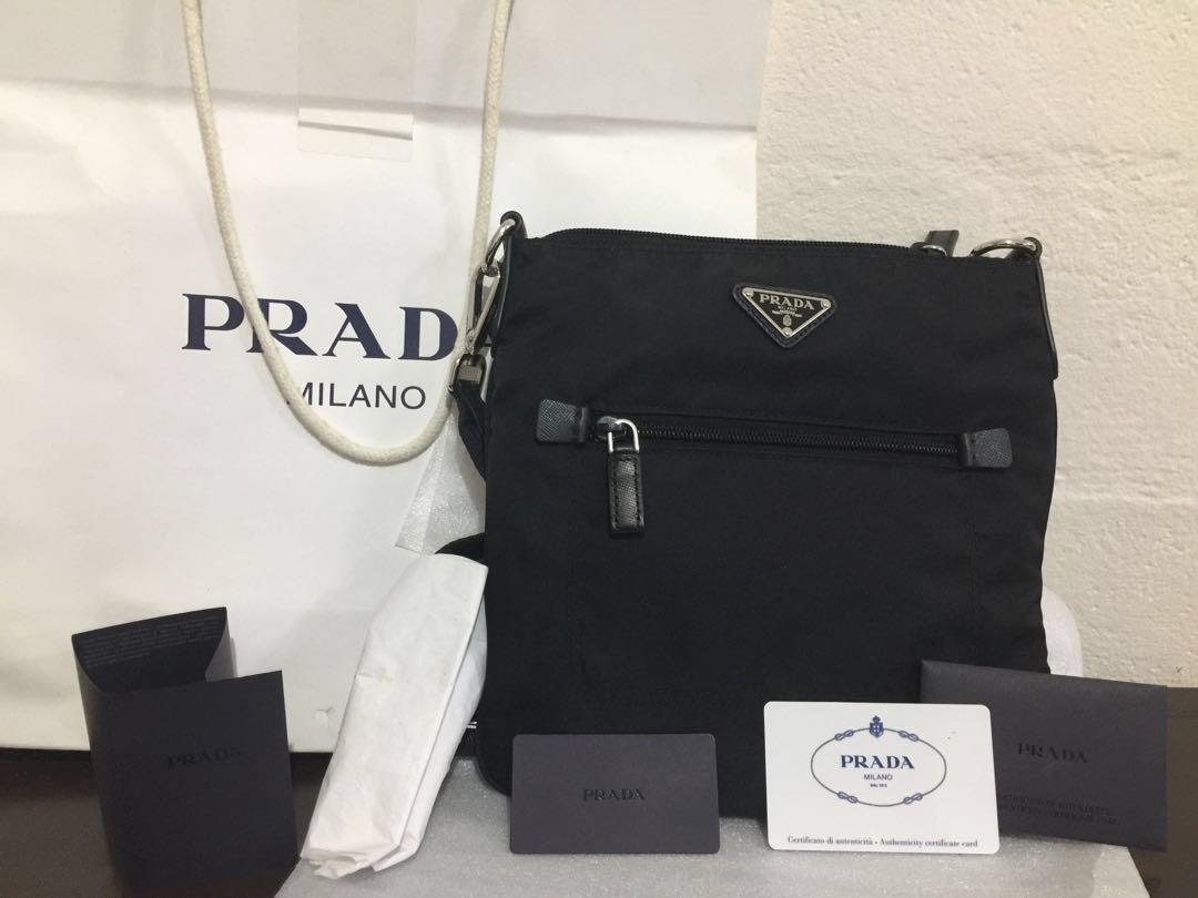 c17a9b215117 Prada Tessuto Nylon Crossbody Bag-Black