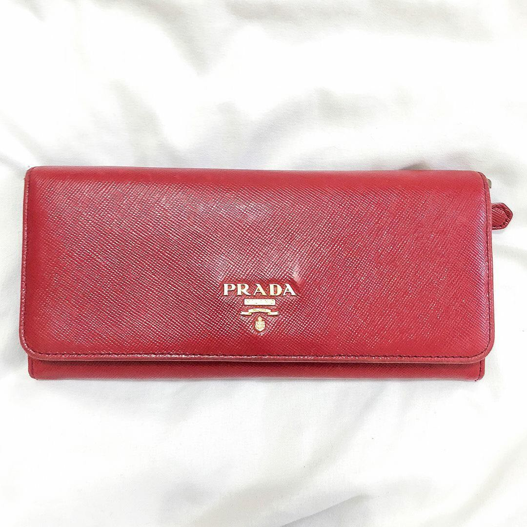 a4245453f9a276 Preloved Prada Red Saffiano Tri-color Leather long walleto, Luxury ...