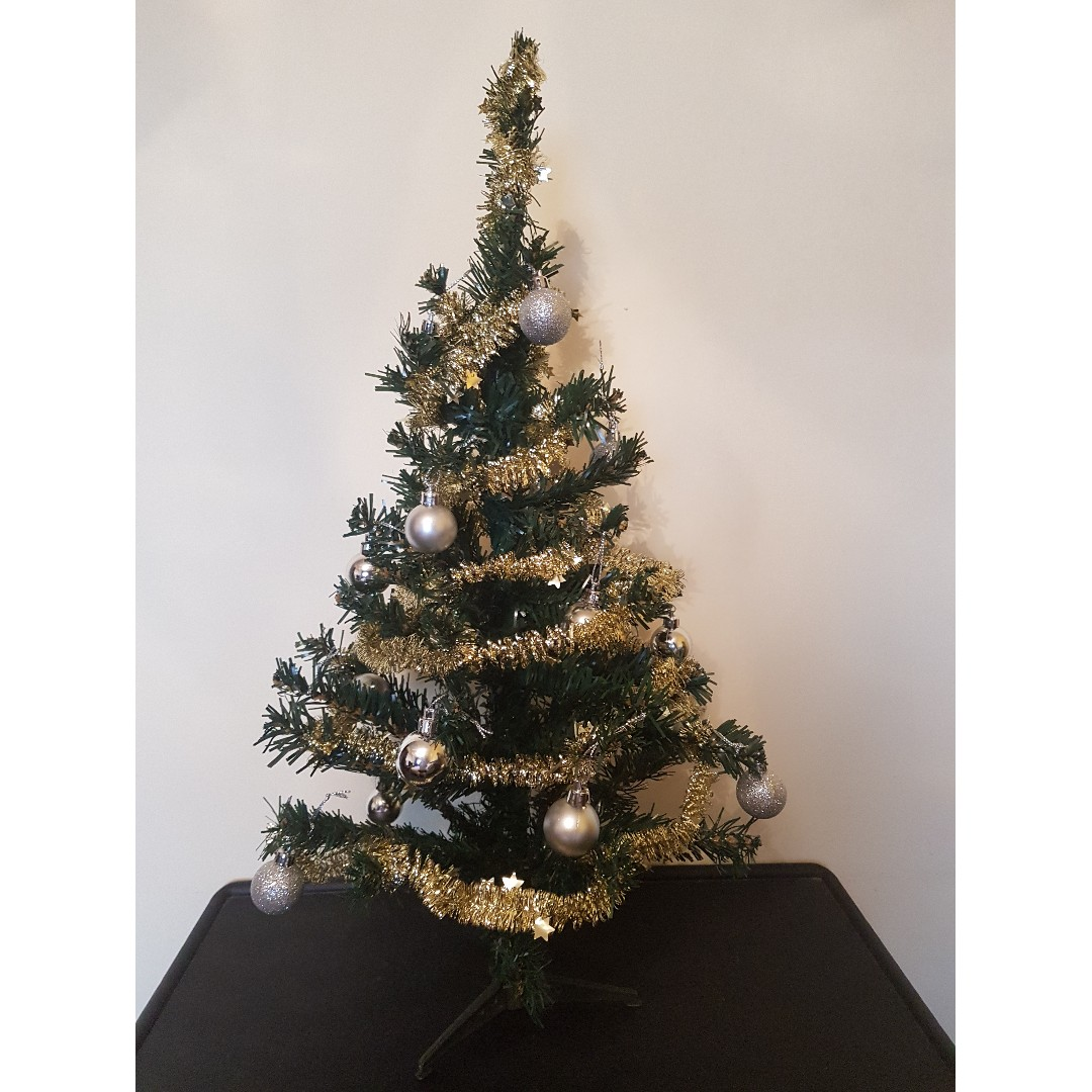 Table Top Christmas Tree 2 Feet Gold Trims Silver Balls Furniture