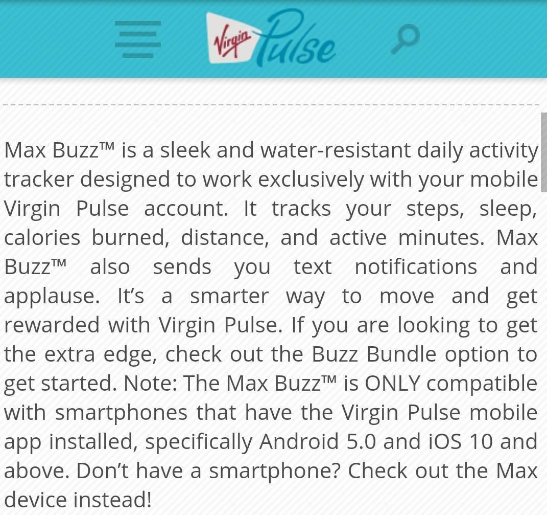 Virgin Pulse Max Buzz Activity Tracker, Electronics, Others