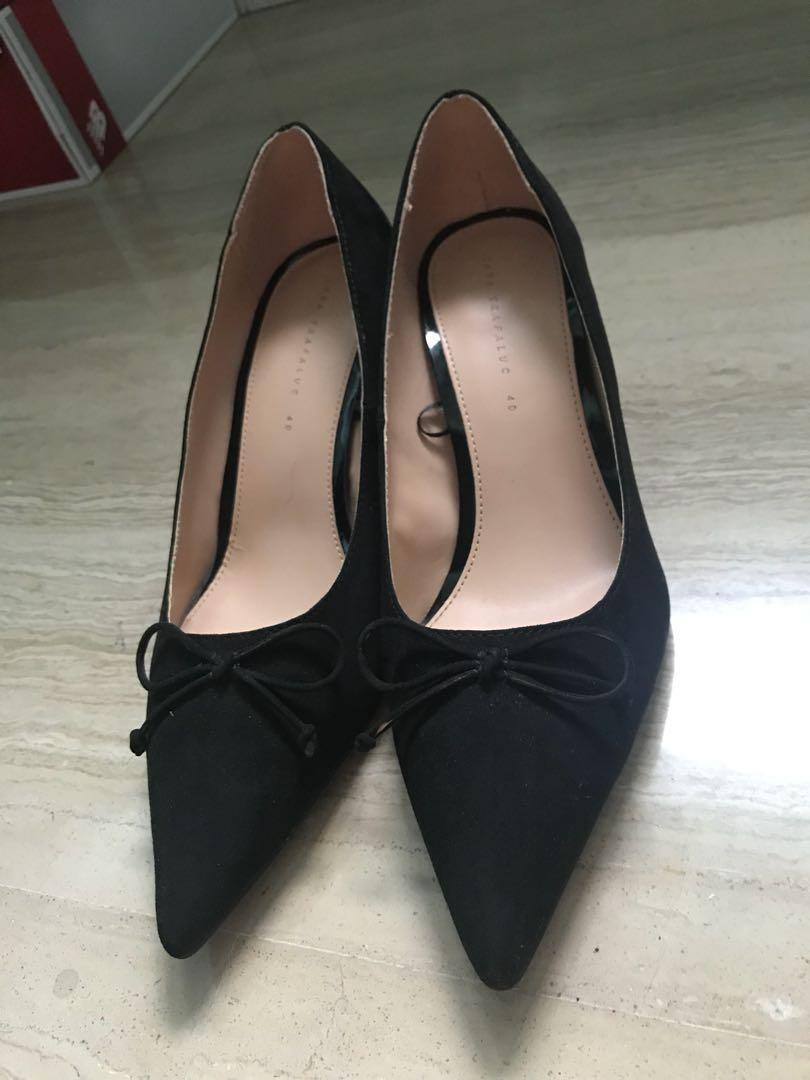 2d90ff6897f Zara black kitten heels with ribbon bow