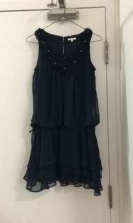 Navy Chiffon Dress XS-S