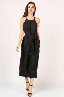 Dressabelle Pinstripe Culotte Jumpsuit in Black