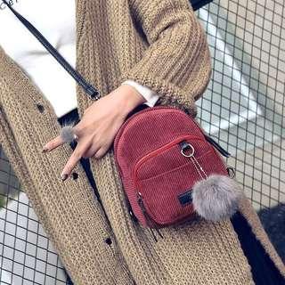 Fur Ball Decorated Corduroy Two Way Mini Backpack (Burgundy)
