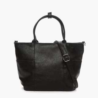 Parisian Stylish Leather Two-Way Tote Bag (Black)