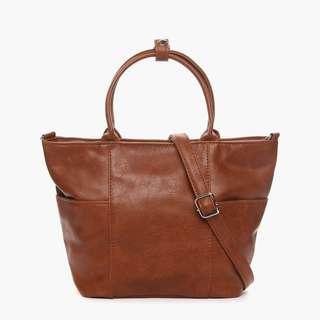 Parisian Stylish Leather Two-Way Tote Bag (Tan)