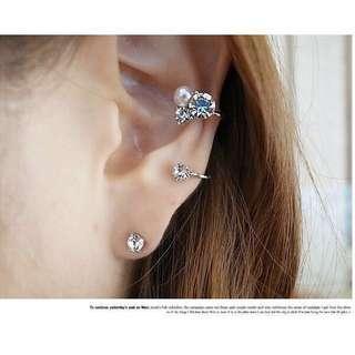 Faux Pearl Crystal Ear Cuff Wrap Earring Set