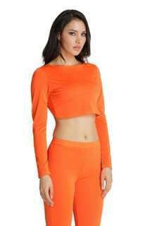 Orange long sleeved crop top
