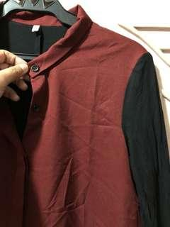 Red Long sleeve Button Down Polo