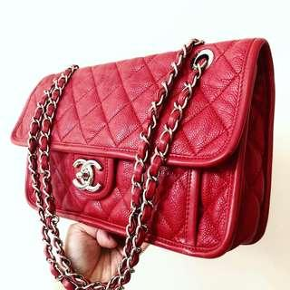 SOLD BEFORE LISTING: Authentic Chanel Wine Red Caviar French Riviera Flap Bag