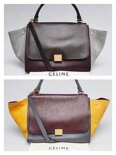 Sale❤️Authentic Celine Trapeze Tri-color medium handbag bag RARE