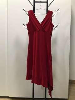 Dress selutut warna merah. Merk ARITHALIA. LD 70cm, bisa melar. Panjang baju 94cm