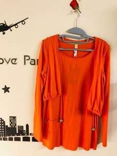 🚚 A la sha 亮橘假兩件薄長袖洋裝