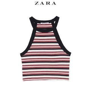 🚚 Zara紅白條紋針織繞頸吊帶削肩背心
