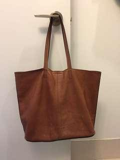 Leather Slouchy Tote  Cognac