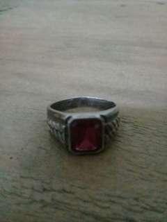 Men's Ring Red Jade