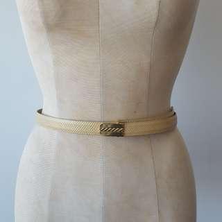 Vintage Beige & Gold Snakeskin Belt
